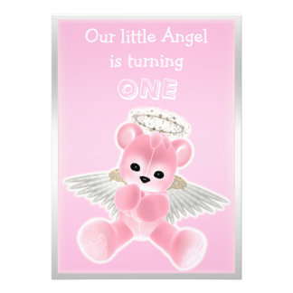 Girl s Pink Angel Teddy Bear First Birthday Party Invitations