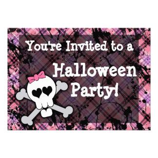 Girl s Pink Skull Halloween Party Invitations