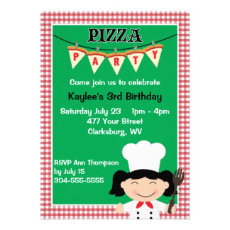 Girl s Pizza Party Personalized Announcements
