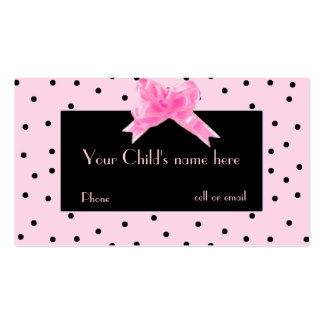 Girl s Pretty In Pink calling card Business Cards