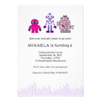 Girl s Robot Birthday Party Custom Invitations