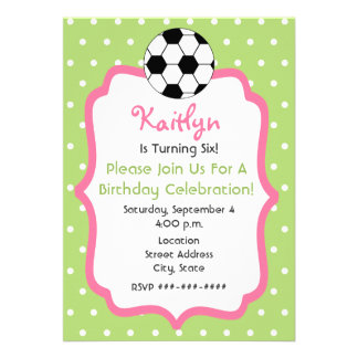 Girl s Soccer Birthday Party Invitation