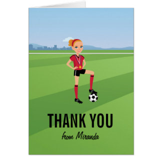Girl s Soccer Game Thank You Card