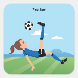 Girl s Soccer Player 3 inch Square Sticker