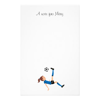 Girl s Soccer Player Personalized Stationery