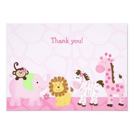 Girl Safari Customized Flat Thank you note Card
