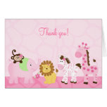 Girl Safari Pink Jungle Folded Thank you Notes Stationery Note Card