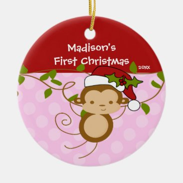 Toddler & Baby themed Girl Santa Monkey Baby's First Christmas Ornament