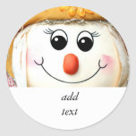 Girl Scarecrow Doll Round Stickers