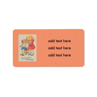 Girl Scaring Boy Book Jack O' Lantern Address Label
