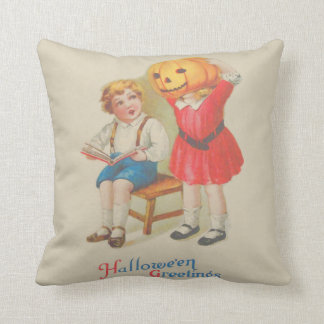 Girl Scaring Boy Book Jack O' Lantern Throw Pillow