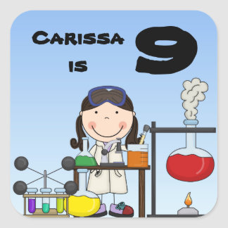 Girl Science Birthday Customized Stickers