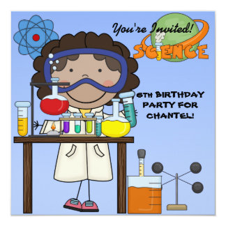 Girl Science Birthday Party Invitation
