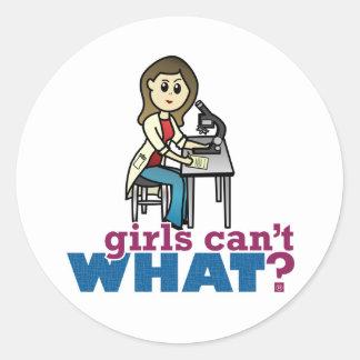 Girl Scientist Classic Round Sticker