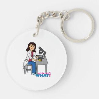 Girl Scientist - Medium Double-Sided Round Acrylic Keychain
