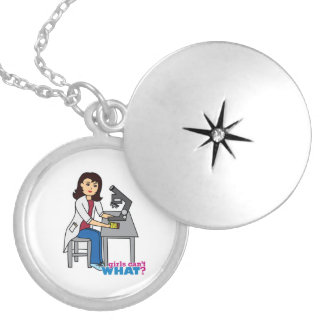 Girl Scientist - Medium Silver Plated Necklace