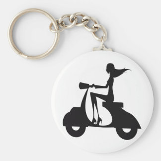 Girl Scooter black Keychain