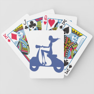 Girl Scooter blue Bicycle Playing Cards