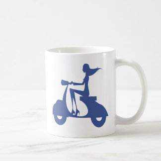 Girl Scooter blue Classic White Coffee Mug