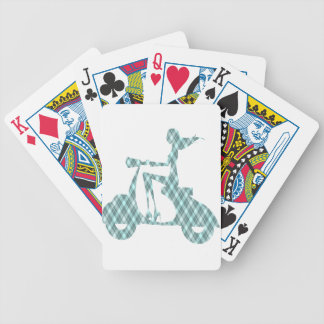 girl scooter blue plaid bicycle playing cards