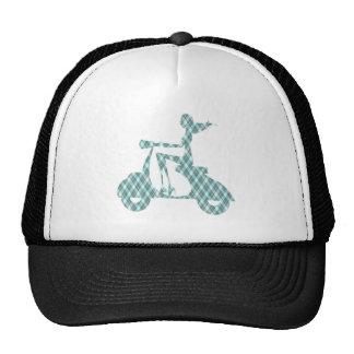 girl scooter blue plaid trucker hat