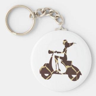 girl scooter dark giraffe keychain