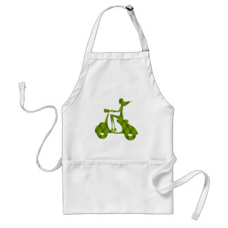 girl scooter green plaid adult apron