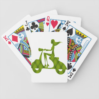 girl scooter green plaid bicycle playing cards