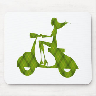 girl scooter green plaid mousepad