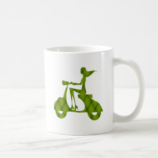 girl scooter green plaid classic white coffee mug