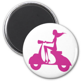 Girl Scooter hot pink 2 Inch Round Magnet