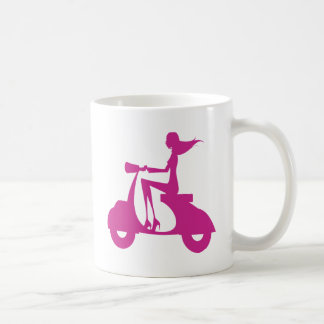 Girl Scooter hot pink Classic White Coffee Mug