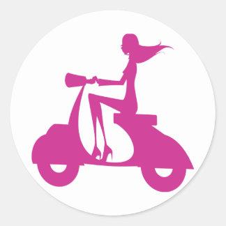 Girl Scooter hot pink Round Sticker