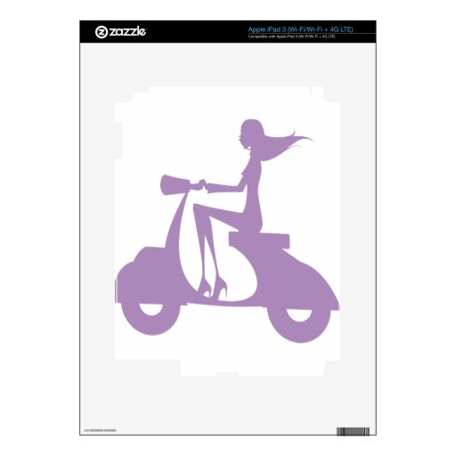 Girl Scooter lavender iPad 3 Decal