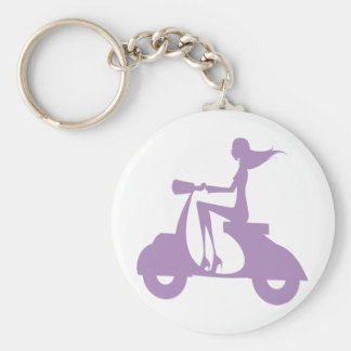 Girl Scooter lavender Keychain