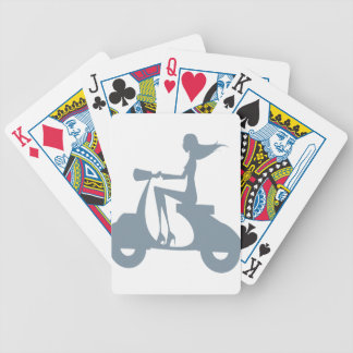 Girl Scooter periwinkle Bicycle Playing Cards