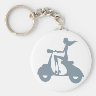 Girl Scooter periwinkle Keychain
