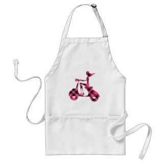 girl scooter pink black plaid adult apron