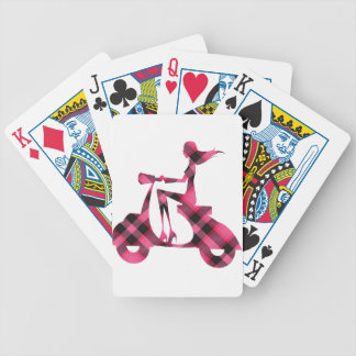 girl scooter pink black plaid bicycle playing cards