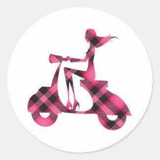 girl scooter pink black plaid sticker