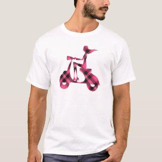 girl scooter pink black plaid T-Shirt