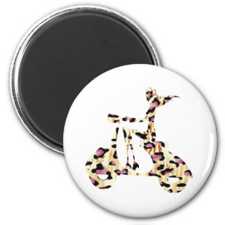 girl scooter pink cheetah 2 inch round magnet