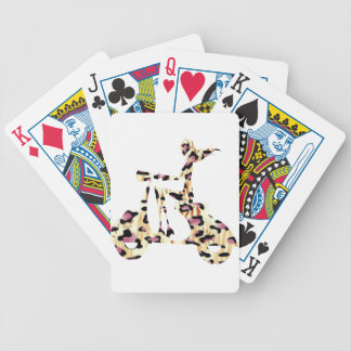 girl scooter pink cheetah bicycle playing cards