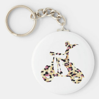 girl scooter pink cheetah keychain