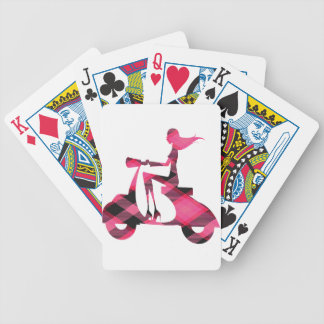 girl scooter pink gingham bicycle playing cards