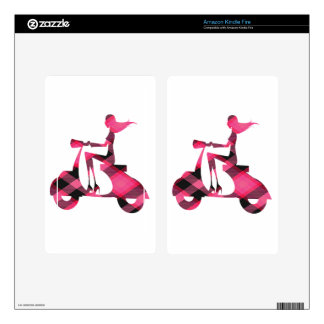 girl scooter pink gingham decals for kindle fire