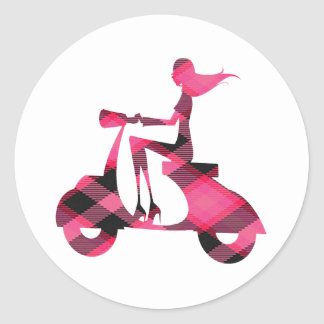 girl scooter pink gingham sticker