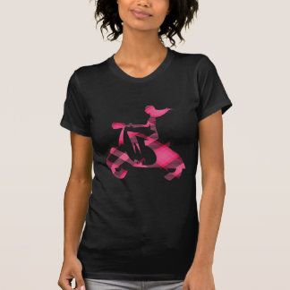 girl scooter pink gingham T-Shirt