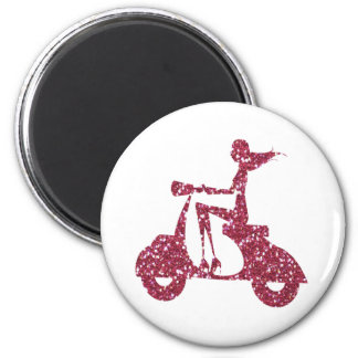 girl scooter pink glitter 2 inch round magnet