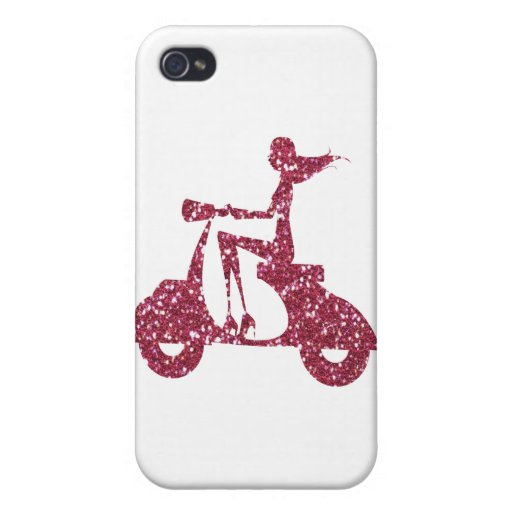 girl scooter pink glitter iPhone 4/4S covers